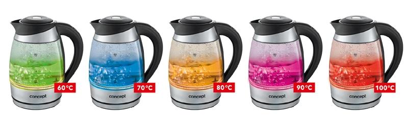 Ukázka změny barvy při ohřívání vody v rychlovarné konvici Concept RK 4060
