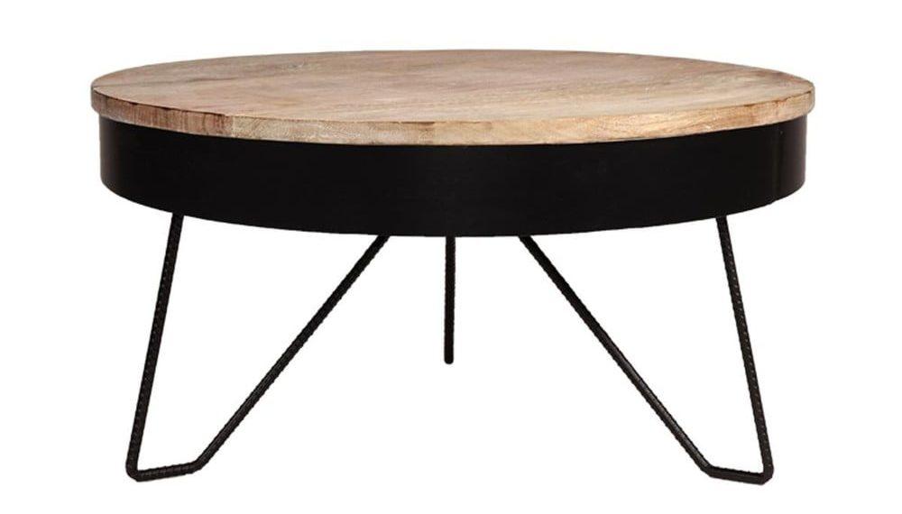 Černý odkládací stolek s deskou z mangového dřeva