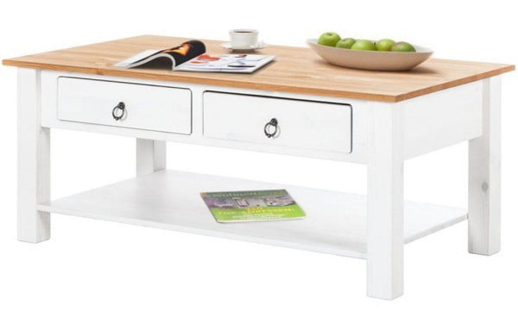 Bílý konferenční stolek s přírodní deskou Støraa Inga